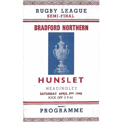 1948 Bradford Northern v Hunslet Rugby League Challenge Cup Semi Final Pirate Programme