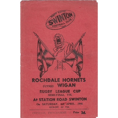 1948 Rochdale Hornets v Wigan Rugby League Challenge Cup Semi Final Programme