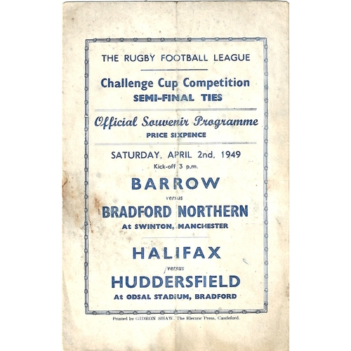 1949 Barrow v Bradford Northern/Halifax v Huddersfield  Rugby League Challenge Cup Semi Final Programme