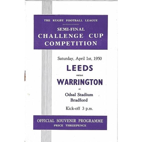 1950 Leeds v Warrington Rugby League Challenge Cup Semi Final Programme
