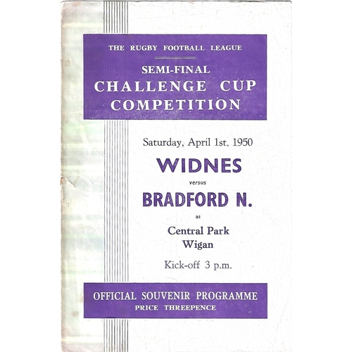 1950 Widnes v Bradford Northern Rugby League Challenge Cup Semi Final Programme