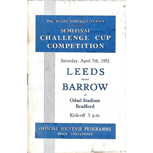 1951 Leeds v Barrow Rugby League Challenge Cup Semi Final Programme