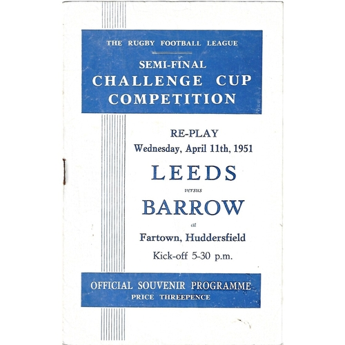 1951 Leeds v Barrow Rugby League Challenge Cup Semi Final Replay Programme