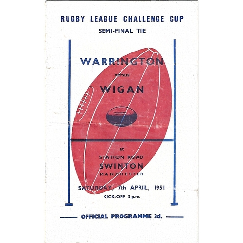 1951 Warrington v Wigan Rugby League Challenge Cup Semi Final Programme