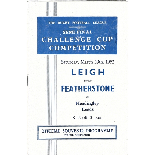 1952 Leigh v Featherstone Rovers Rugby League Challenge Cup Semi Final Programme