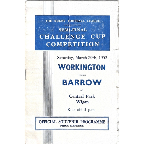 1952 Workington Town v Barrow Rugby League Challenge Cup Semi Final Programme