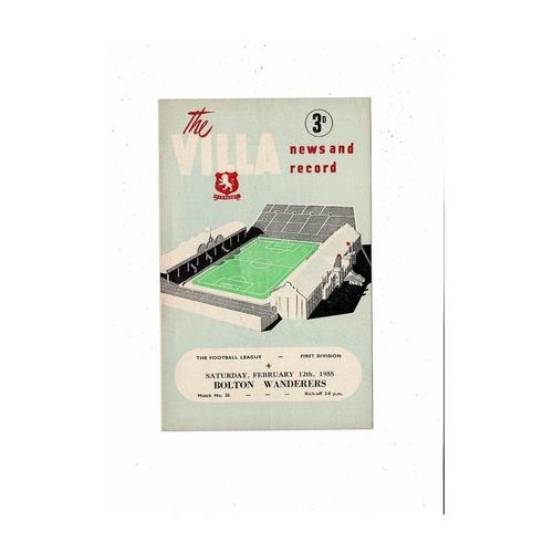 1954/55 Aston Villa v Bolton Wanderers Football Programme