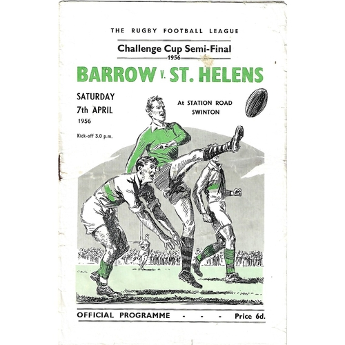 1956 Barrow v St. Helens Rugby League Challenge Cup Semi Final Programme
