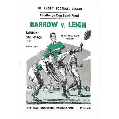 1957 Barrow v Leigh Rugby League Challenge Cup Semi Final Programme