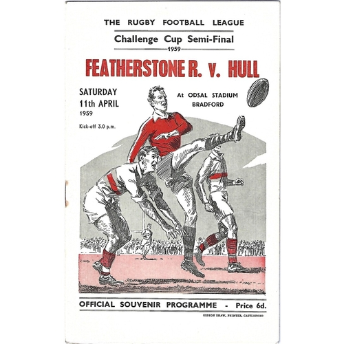 1959 Featherstone Rovers v Hull Rugby League Challenge Cup Semi Final Programme