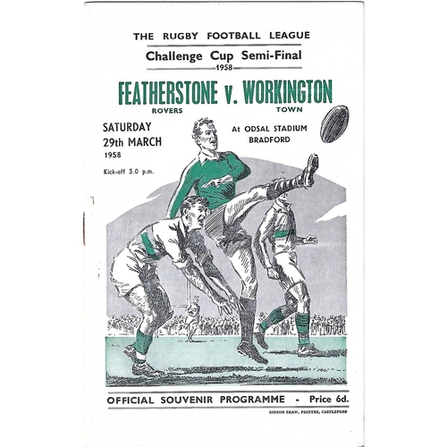 1958 Featherstone Rovers v Workington Town Rugby League Challenge Cup Semi Final Programme