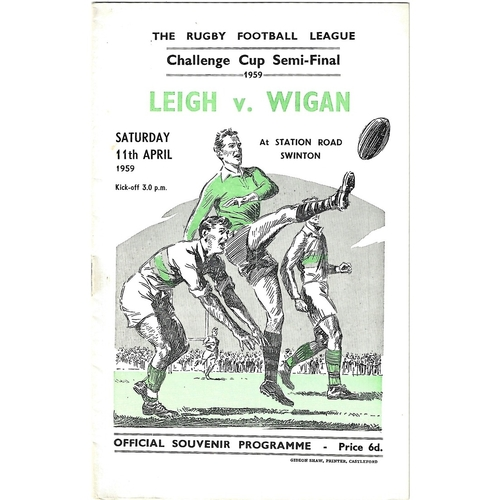 1959 Leigh v Wigan Rugby League Challenge Cup Semi Final Programme