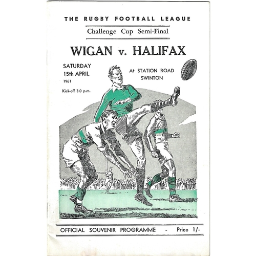 1961 Wigan v Halifax Rugby League Challenge Cup Semi Final Programme