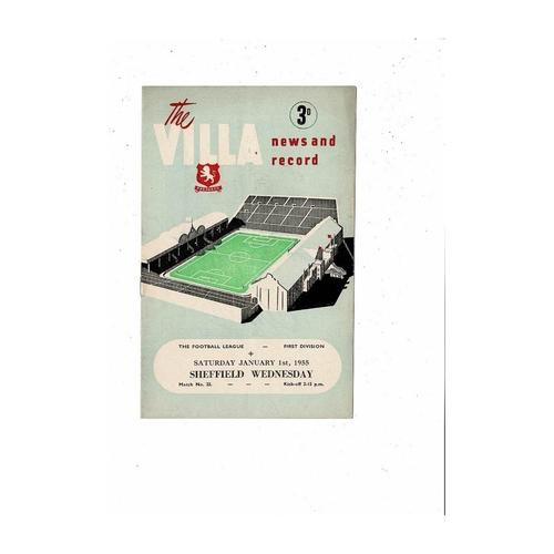 1954/55 Aston Villa v Sheffield Wednesday Football Programme