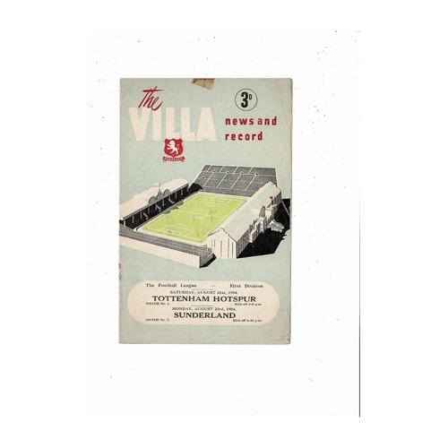 1954/55 Aston Villa v Tottenham Hotspur & Sunderland Double Football Programme