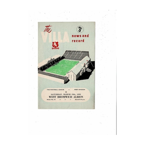 1954/55 Aston Villa v West Bromwich Albion Football Programme