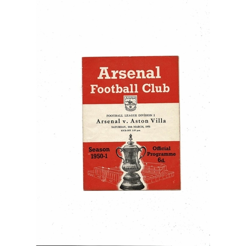 1950/51 Arsenal v Aston Villa Football Programme