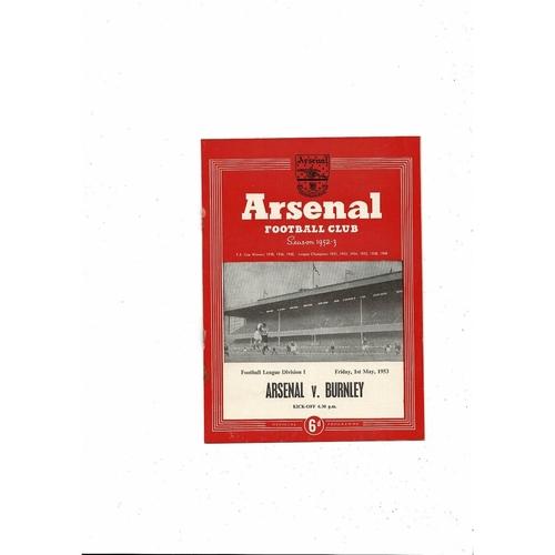 1952/53 Arsenal v Burnley Football Programme