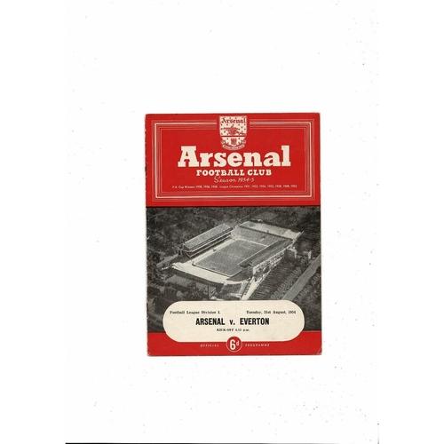 1954/55 Arsenal v Everton Football Programme
