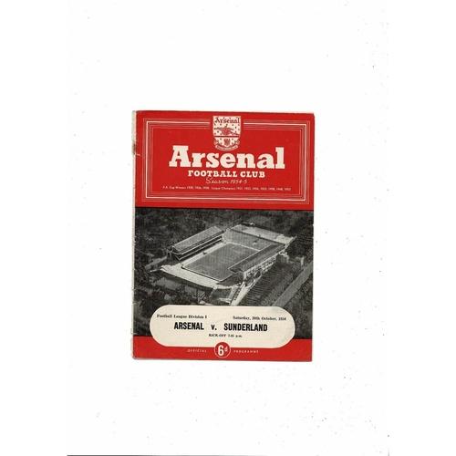 1954/55 Arsenal v Sunderland Football Programme