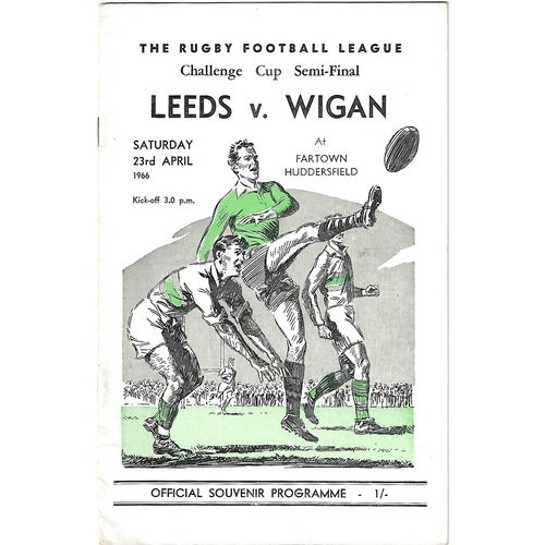 1966 Leeds v Wigan Rugby League Challenge Cup Semi Final Programme