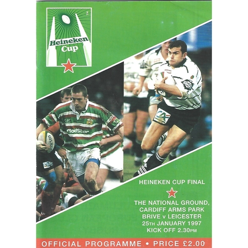 1997 Brive v Leicester European Cup Final Rugby Union Programme