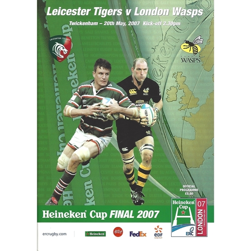 2007 Leicester Tigers v London Wasps European Cup Final Rugby Union Programme