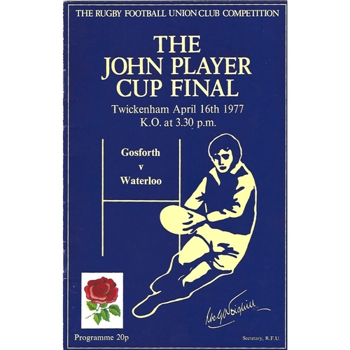 1977 Gosforth v Waterloo John Player Cup Final Rugby Union Programme