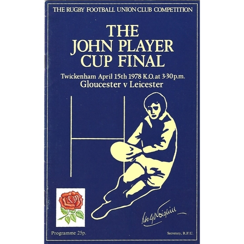 1978 Gloucester v Leicester John Player Cup Final Rugby Union Programme