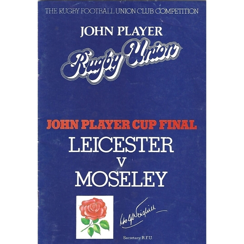1979 Leicester v Moseley John Player Cup Final Rugby Union Programme