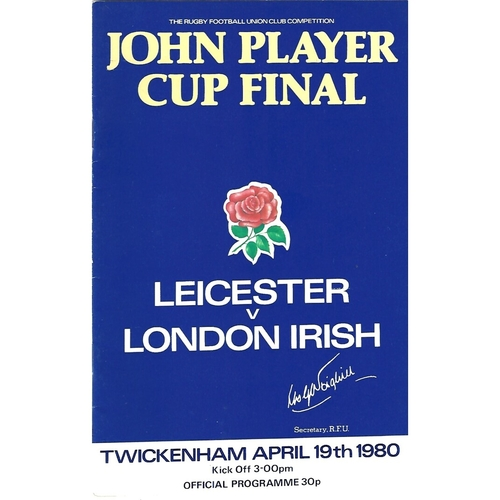 1980 Leicester v London Irish John Player Cup Final Rugby Union Programme