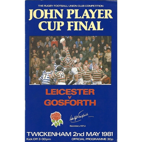 1981 Leicester v Gosforth John Player Cup Final Rugby Union Programme