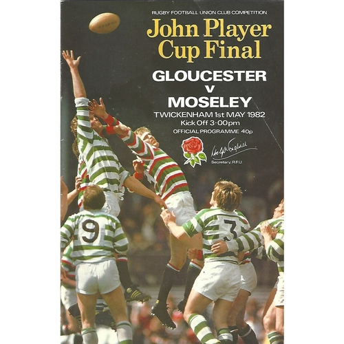 1982 Gloucester v Moseley John Player Cup Final Rugby Union Programme