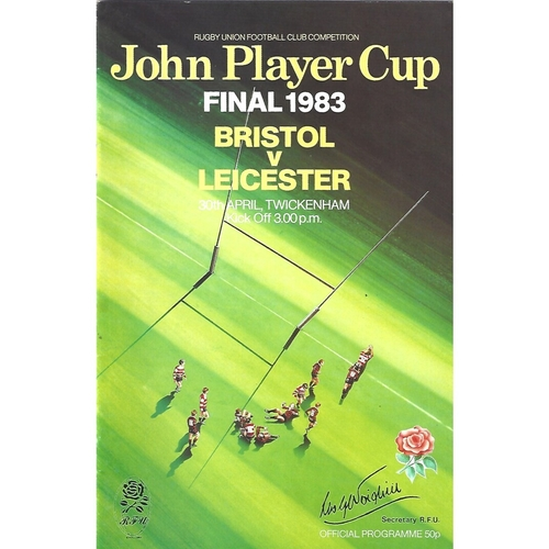 1983 Bristol v Leicester John Player Cup Final Rugby Union Programme