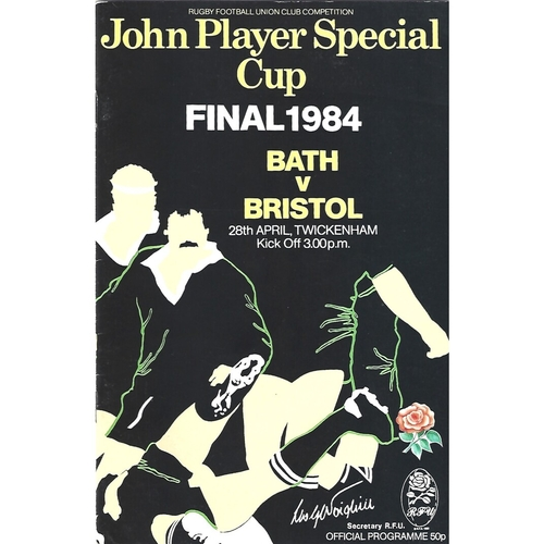 1984 Bath v Bristol John Player Cup Final Rugby Union Programme
