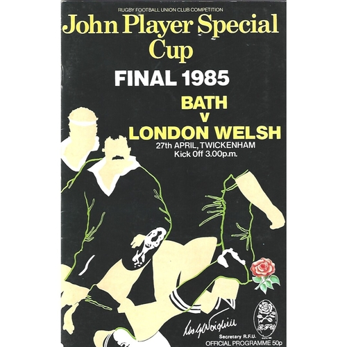 1985 Bath v London Welsh John Player Cup Final Rugby Union Programme