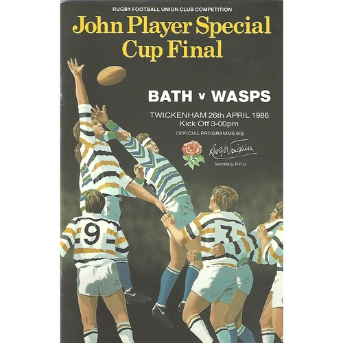 1986 Bath v Wasps John Player Cup Final Rugby Union Programme