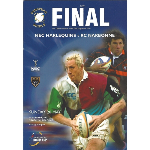 2001 NEC Harlequins v RC Narbonne European Shield Final Rugby Union Programme