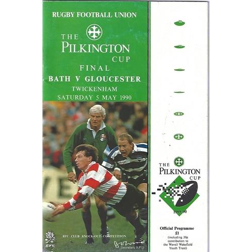 1990 Bath v Gloucester Pilkington Cup Final Rugby Union Programme