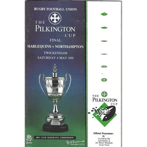 1991 Harlequins v Northampton Pilkington Cup Final Rugby Union Programme & Match Ticket