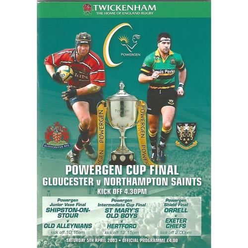 2003 Gloucester v Northampton Saints Powergen Cup Final Rugby Union Programme