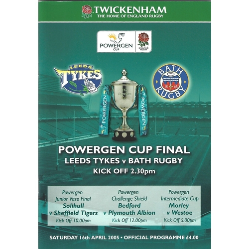 2005 Leeds Tykes v Bath Rugby Powergen Cup Final Rugby Union Programme