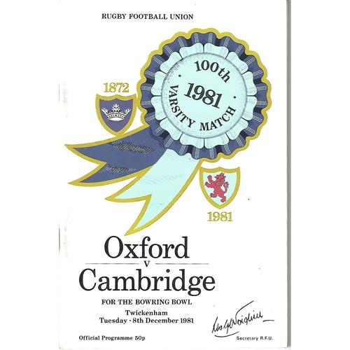 Varsity Match Oxford v Cambridge Rugby Union Programmes