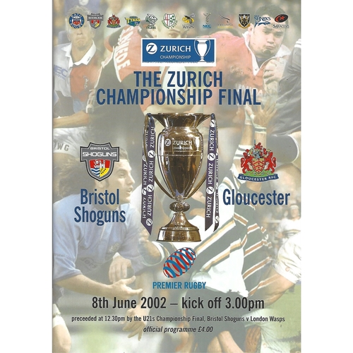 2002 Bristol Shoguns v Gloucester The Zurich Championship Final Rugby Union Programme