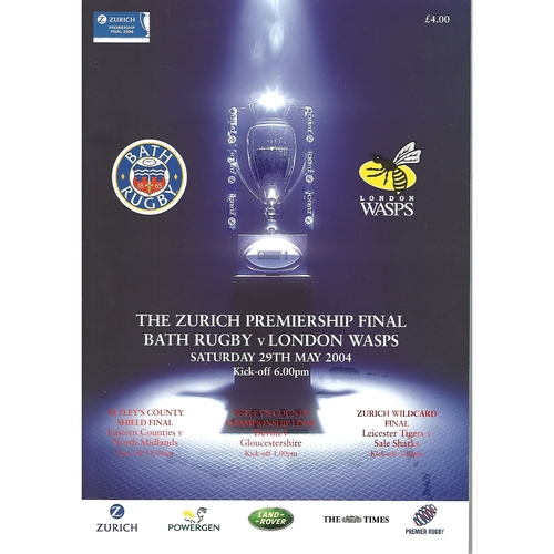 2004 Bath v London Wasps The Zurich Championship Final Rugby Union Programme