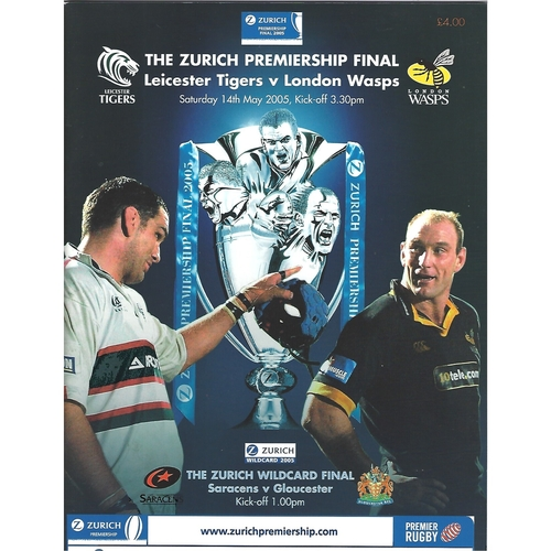2005 Leicester Tigers v London Wasps The Zurich Championship Final Rugby Union Programme