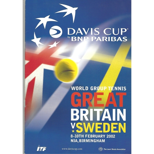 2002 Great Britain v Sweden Davis Cup Tennis Programme & Insert