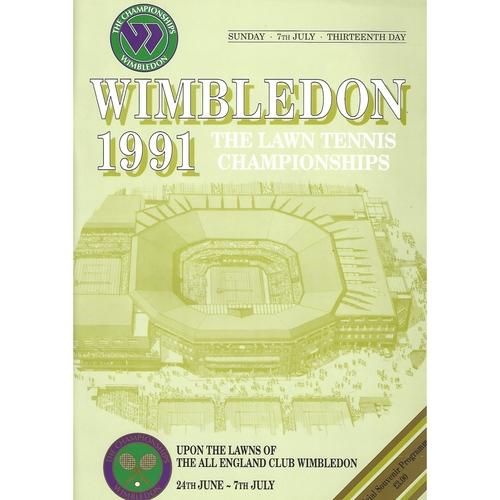 1991 (13th Day) Wimbledon Tennis Programme