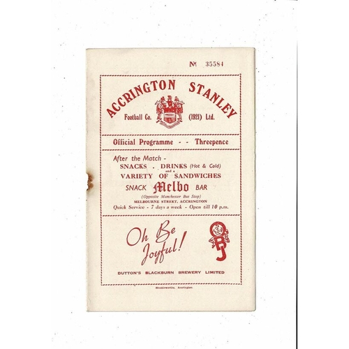 1953/54 Accrington Stanley v Chester City Football Programme