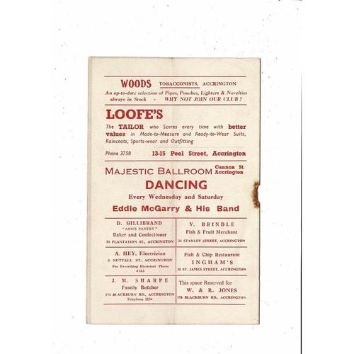 1953/54 Accrington Stanley v Southport Football Programme